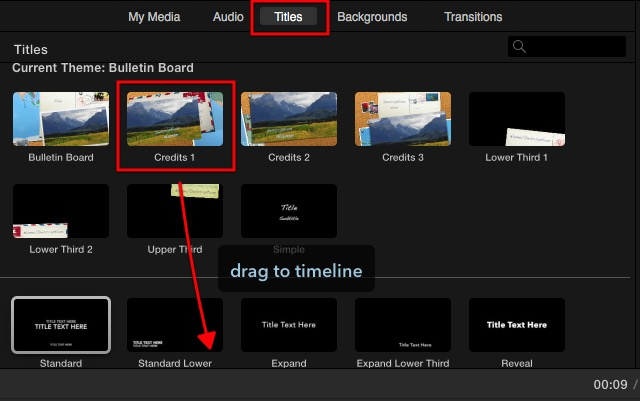 iMovie - title choices