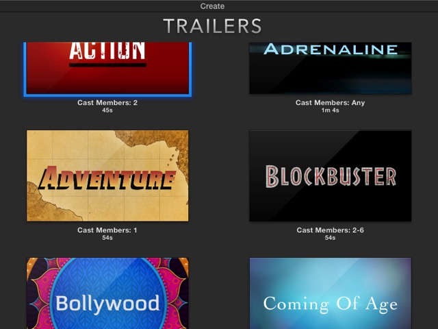 iMovie - trailer templates