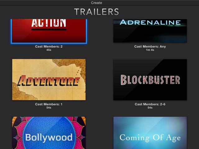 iMovie - trailer templates