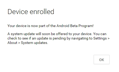 Android Beta Program enroll
