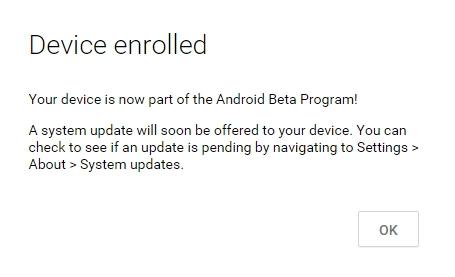 Registrierung für das Android Beta-Programm