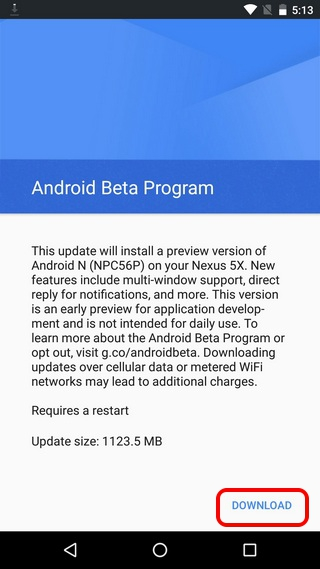 Android N Vorschau herunterladen