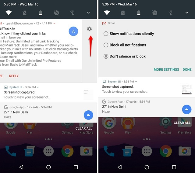 Android N block app notifications