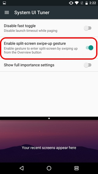 Android N split screen gesture