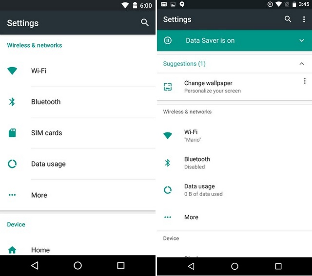 Android N vs Android Marshmallow Settings