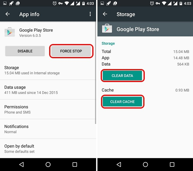 Android force stop Play Store