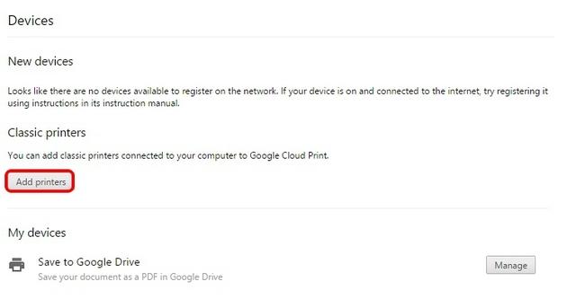 Chrome Cloud Print Drucker hinzufügen