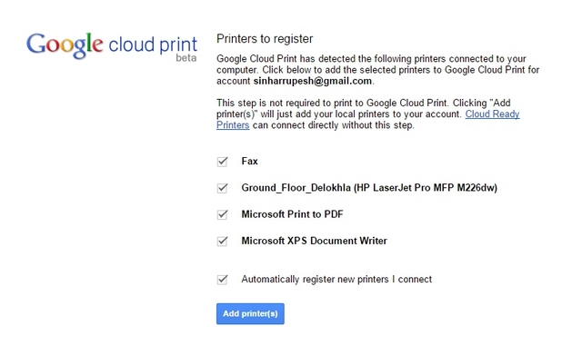Chrome Cloud Print-Drucker verfügbar
