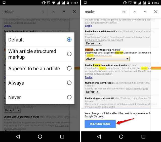 Chrome Flags Android enable Reader Mode