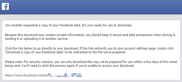 Facebook Data Download mail