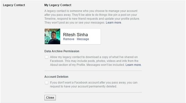 فيسبوك تراث الاتصال