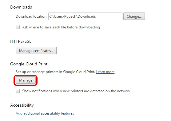 Google Cloud Print Chrome Settings