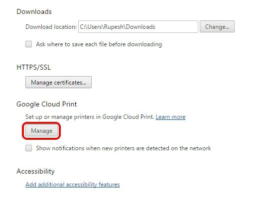 Google Cloud Print Chrome Settings