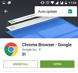 Google Play Tips auto update specific app