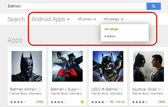 Google Play tips filter searches
