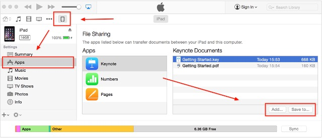 Moving Files -bb- iTunes File Sharing
