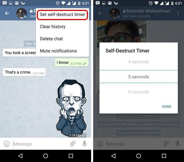 Telegram Messenger App Tricks self destruct chats