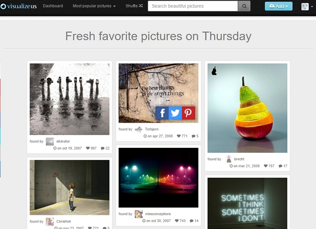VisualizeUs looks a lot like Pinterest but it's more about picture & video sharing rather than content. The website comes with a browser extension to let ...