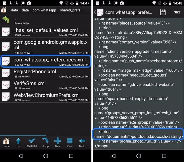 WhatsApp-Einstellungen Root-Dateien