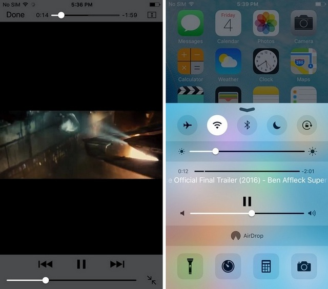 YouTube videos in background with control center