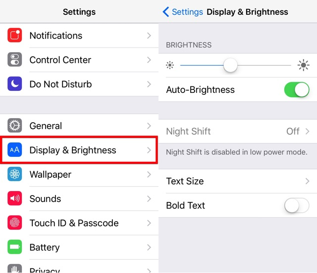 iPhone Battery -bb- Display Brightness