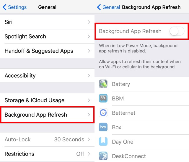 iPhone Battery -bb- background app refresh