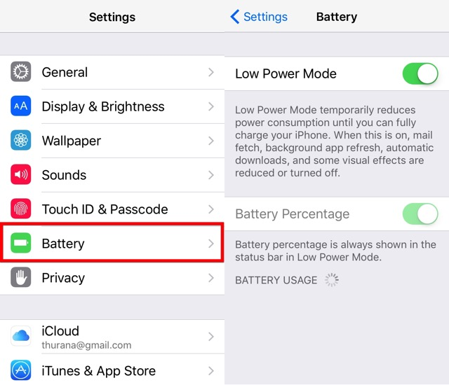 iPhone Battery -bb- low power mode