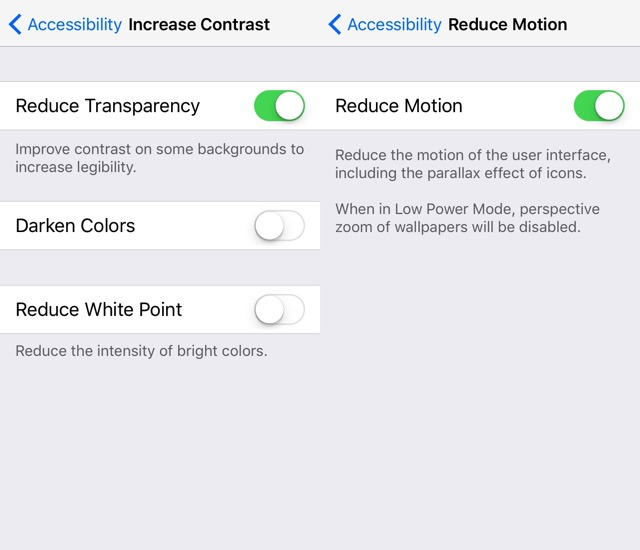 iPhone Battery -bb- reduce motion
