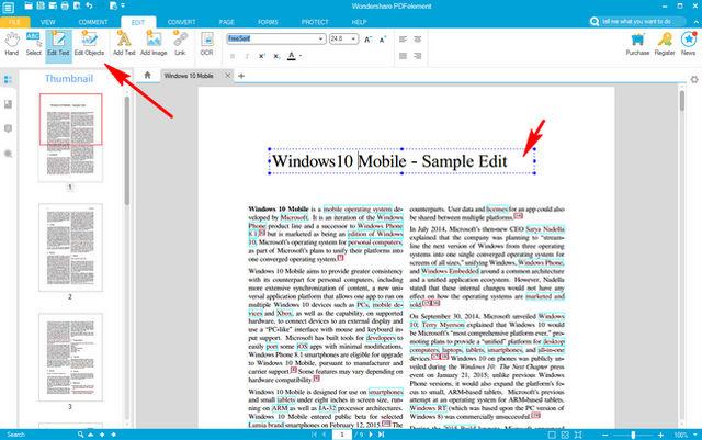 wondershare pdfelement text edit