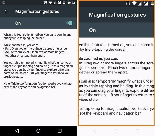 Android-Vergrößerungsgesten