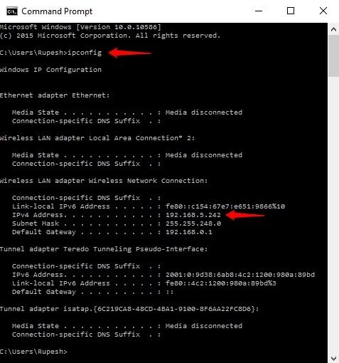 Command Prompt IP address