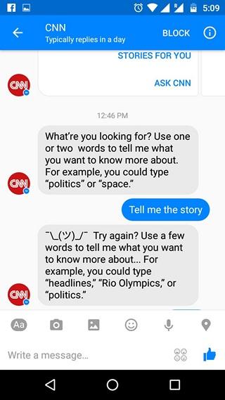 Facebook Messenger Bots conversation