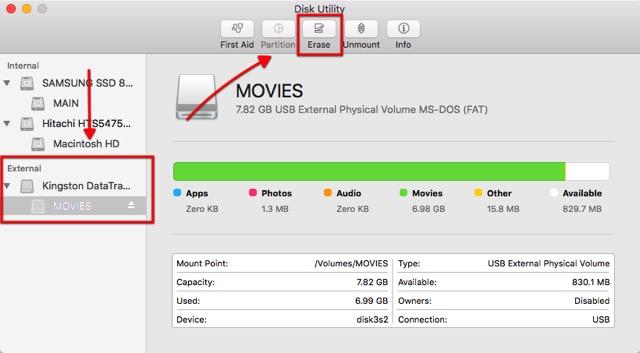 Format USB -bb- Choose External