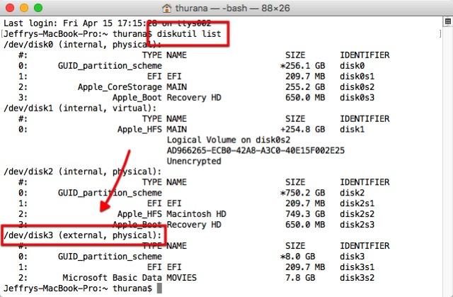 Format USB -bb- terminal diskutil