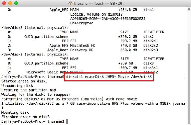 Format USB -bb- terminal erase