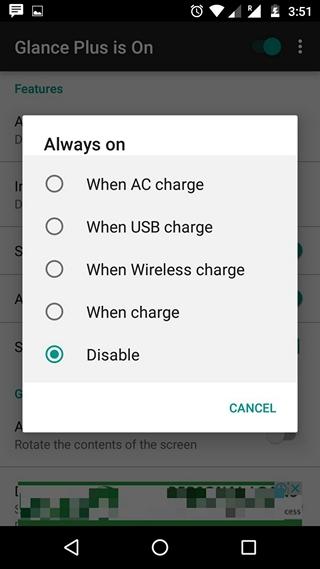 Glance Plus Always on settings
