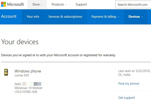 IMEI Number in Microsoft Account