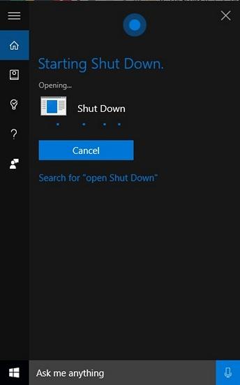 Fahren Sie Windows 10 Voice Cortana herunter