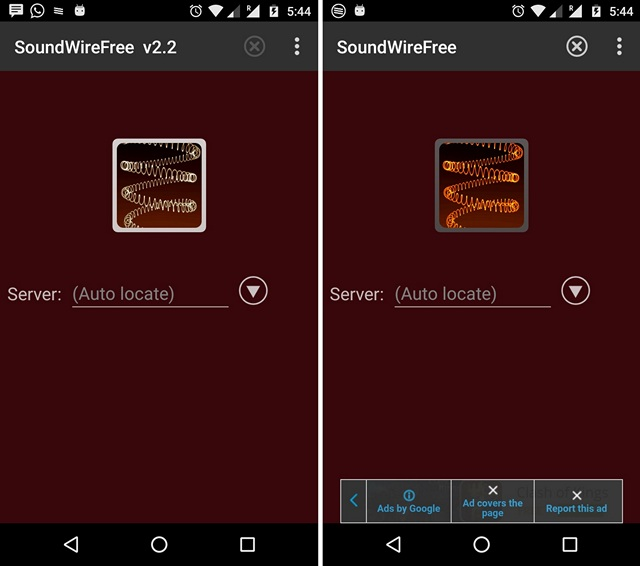 SoundWire Android App connected