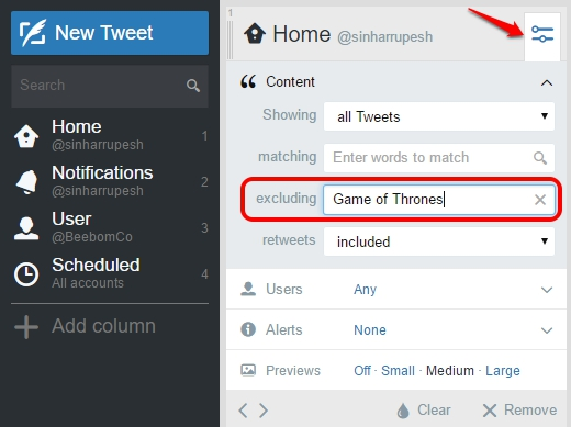 Tweetdeck Exclude keywords