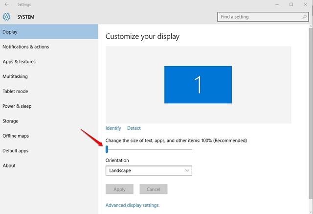 Windows 10 Change DPI