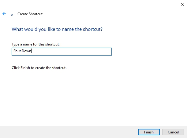 Windows 10 Shut Down shortcut
