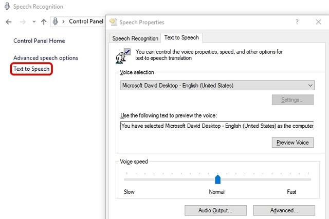 Windows 10 Text to Speech
