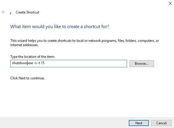 Windows 10-Verknüpfung zum Herunterfahren