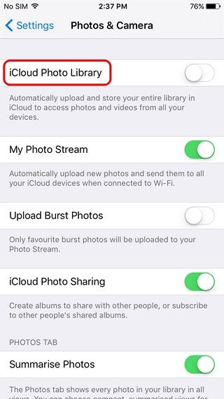iPhone backup photos to iCloud