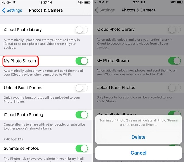 iPhone disable Photo Stream