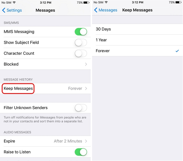 iPhone message expiration
