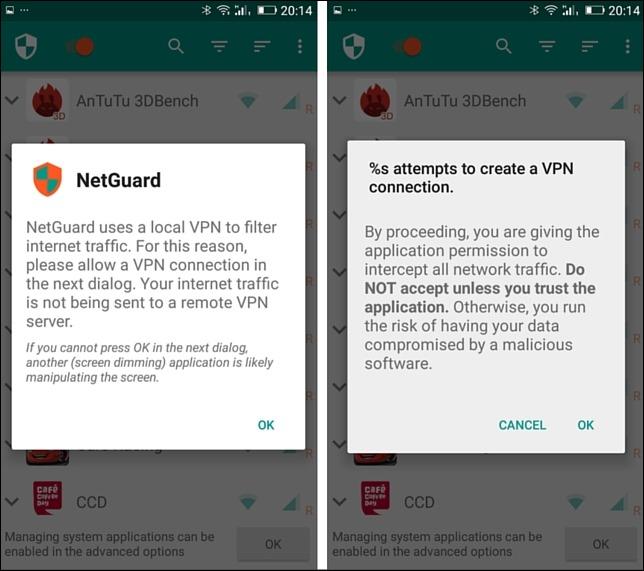 netguard establish connection