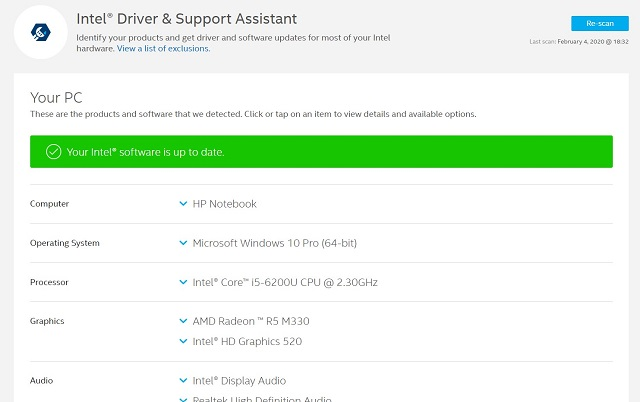 10. Intel Driver and Support Assistant