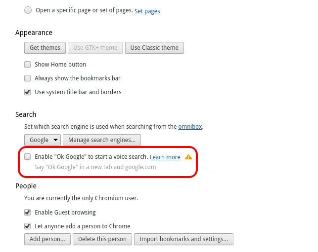 Disable Ok Google in Chrome